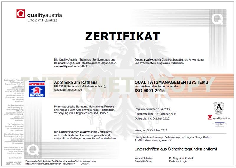 zertifikat apotheke am rathaus rodenbach iso9001