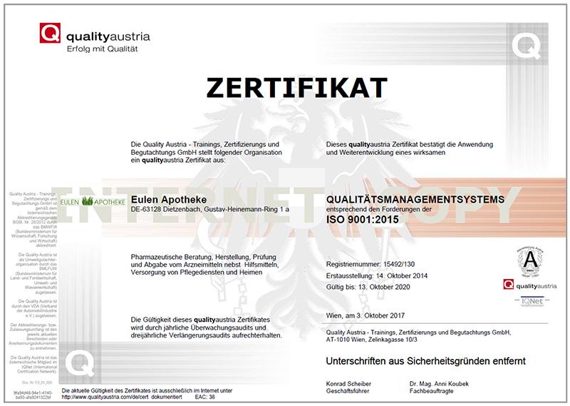 zertifikat eulen apotheke dietzenbach iso9001