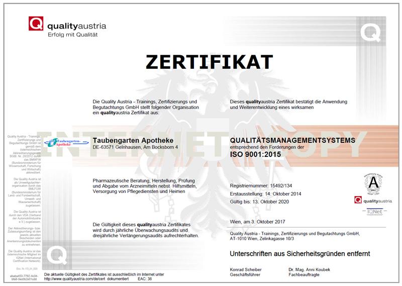 zertifikat taubengarten apotheke dietzenbach iso9001